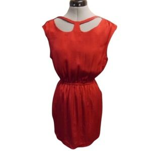 Bcbgeneration Red Cap Sleeve Cut out Dress